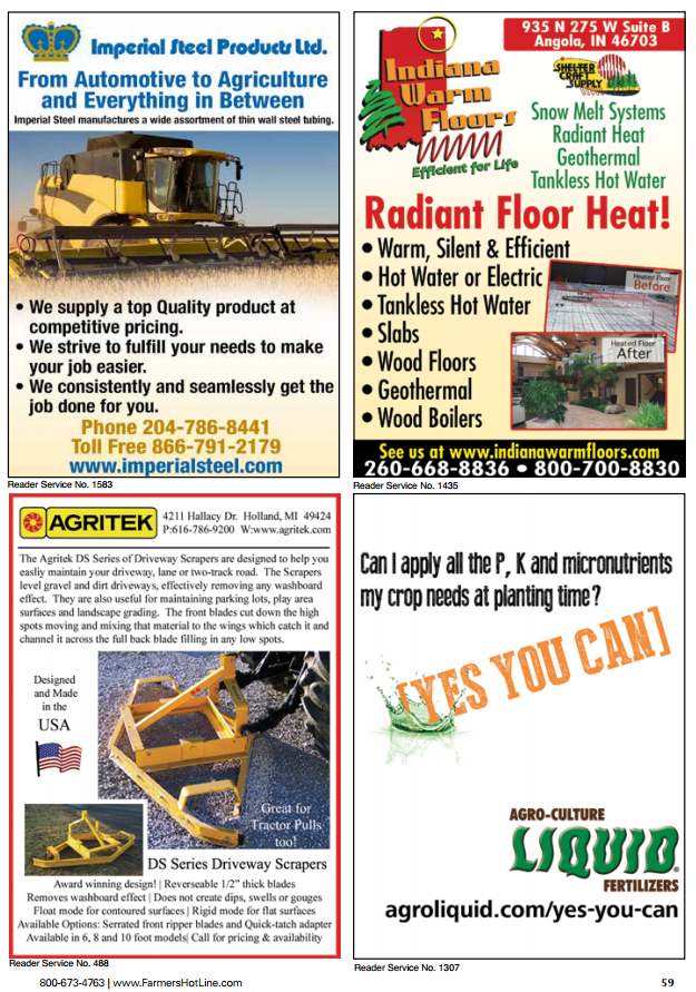 Imperial Steel ad - Farmers Hotline Spring 2015